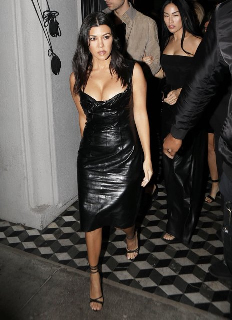 Kourtney Kardashian leaving Craigs in black leather dress on November 2, 2019 n Hollywood. (Photo by X17/SIPA Press)