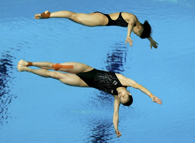 China's Shi Tingmao and Wu Minxia compete in the women?s synchronized 3m springboard diving heats at the Aquatics World Championships in Kazan, Russia, July 25, 2015. (Photo by Stefan Wermuth/Reuters)