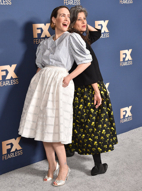 (L-R) Sarah Paulson and Tracey Ullman attend the FX Networks' Star Walk Winter Press Tour 2020 at The Langham Huntington, Pasadena on January 09, 2020 in Pasadena, California. (Photo by Gregg DeGuire/WireImage)