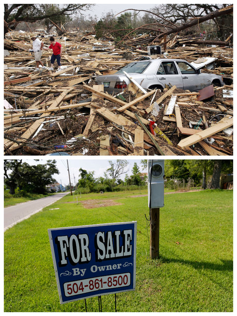 This combination of September 1, 2005 and July 29, 2015 photos show Harry and Silvia Pulizzano walking across debris from Hurricane Katrina in search of Silvia's brother's home in Waveland, Miss., and the same site a decade later. (Photo by John Bazemore/Gerald Herbert/AP Photo)