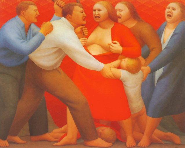 Men and Women Fighting. Artwork by George Tooker