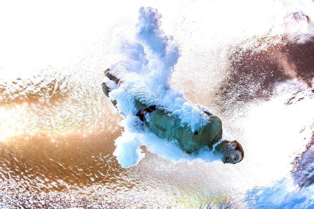 Canada's Vincent Riendeau competing in the men's 10m platform diving semifinal, August 20, 2016. (Photo by Francois-Xavier Marit/AFP Photo)
