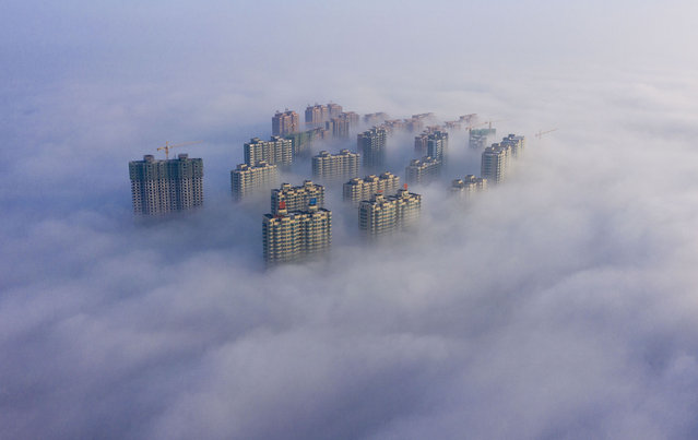 Aerial photo taken on January 19, 2020 shows the scenery of advection fog in Yuncheng City, north China's Shanxi Province. (Photo by Shang Jianzhou/Xinhua News Agency/Rex Features/Shutterstock)