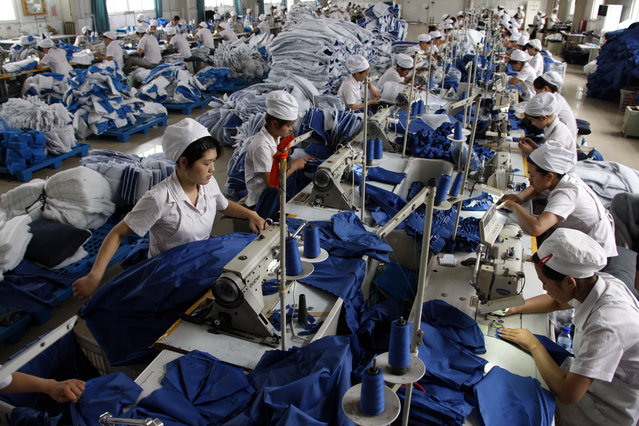 A production line of a garment factory in Huaibei, Anhui province. (Photo by Reuters/Stringer Shanghai)