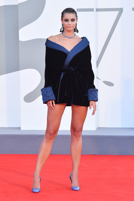 """American model and actress Taylor Hill walks the red carpet ahead of the movie """"Amants"""" at the 77th Venice Film Festival at  on September 03, 2020 in Venice, Italy. (Photo by Stephane Cardinale – Corbis/Corbis via Getty Images)"""