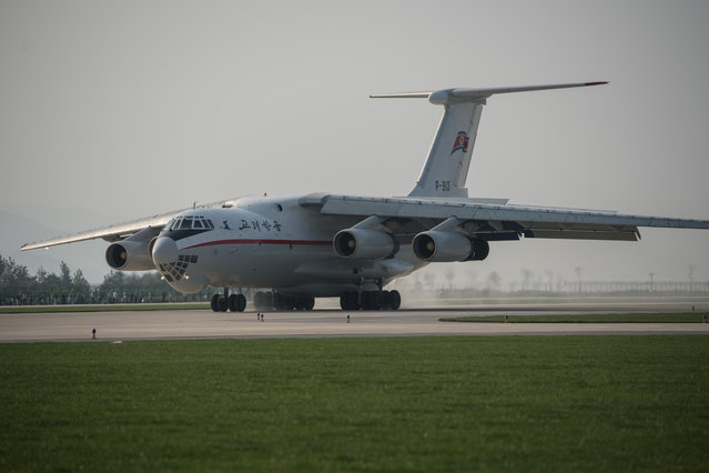 This photo taken on September 24, 2016 shows an Ilyushin Il-76 taxiing during the first Wonsan Friendship Air Festival in Wonsan. (Photo by Ed Jones/AFP Photo)