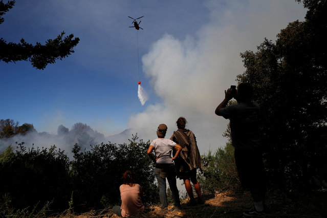 A group of residents who remained despite the mandatory evacuation watch a firefighting helicopter make a drop near their properties along Summit road during the Loma Fire near Santa Cruz, California, U.S. September 28, 2016. (Photo by Stephen Lam/Reuters)