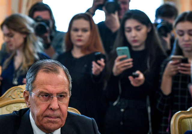 Russian Foreign Minister Sergei Lavrov attends a meeting with his Dutch counterpart in Moscow on April 13, 2018. (Photo by Yuri Kadobnov/AFP Photo)