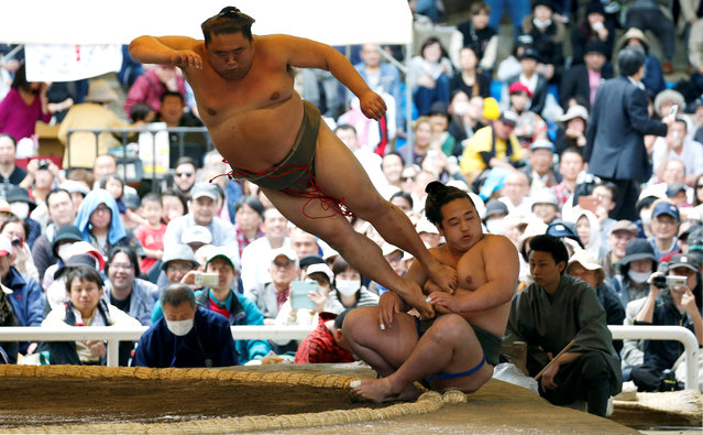 Sumo wrestlers perform a show fight during an annual sumo tournament dedicated to the Yasukuni Shrine in Tokyo, Japan on April 16, 2018. (Photo by Toru Hanai/Reuters)