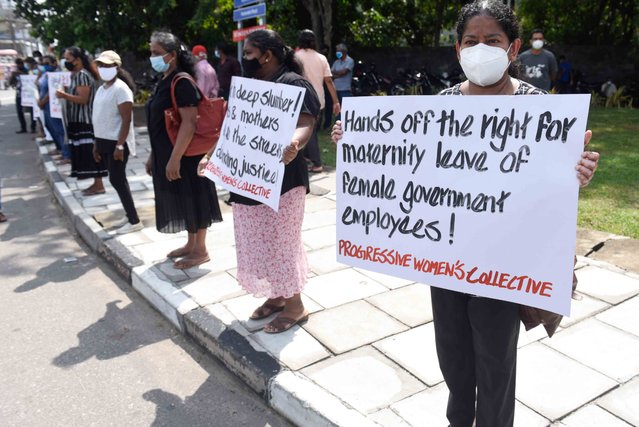 A group of Sri Lankan civil rights protesters holds placards during a protest remark International Human rights day in Colombo, Sri Lanka on December 10, 2020 The protesters claim justice for Mahara prison riot victims. (Photo by Akila Jayawardana/NurPhoto via Getty Images)