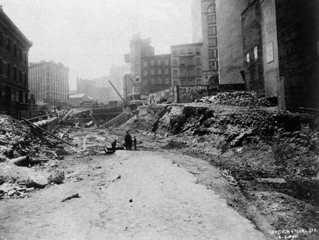 This is excavation at Lafayette Street, then known as Elm Street, near Pearl Street, for New York's subway line, seen May 6, 1901. (Photo by AP Photo)