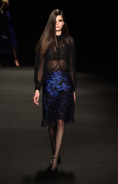 A model walks the runway at the Monique Lhuillier fashion show during Mercedes-Benz Fashion Week Fall 2015 at The Theatre at Lincoln Center on February 13, 2015 in New York City. (Photo by Frazer Harrison/Getty Images for Mercedes-Benz Fashion Week)