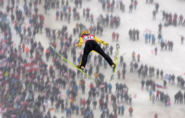 Noriaki Kasai of Japan competes during the second round of the Ski Flying event of the FIS Ski Jumping World Championship in Kulm -Bad Mitterndorf on January 15, 2016. (Photo by Michal Cizek/AFP Photo)