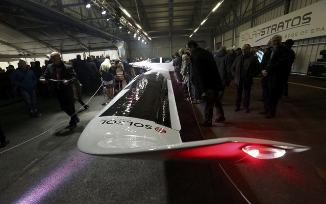 Solarstratos, a solar-powered two-seater aircraft with a mission to fly some 24,000m (78,000 feet) above earth set to take place in 2018, is pictured during the roll out presentation in Payerne, Switzerland December 7, 2016. (Photo by Denis Balibouse/Reuters)