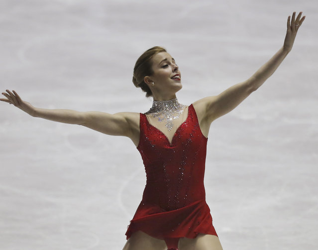 Ashley Wagner of the United States performs during the women's free skate at the World Team Trophy Figure Skating Championships in Tokyo, Saturday, April 18, 2015. (Photo by Koji Sasahara/AP Photo)