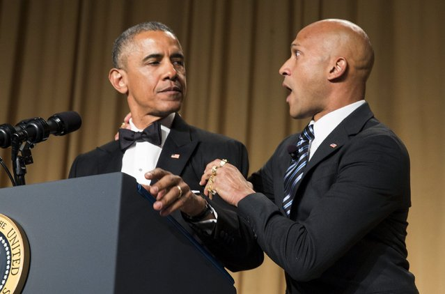 """U.S. President Barack Obama pokes fun at the media with comedian Keegan-Michael Key playing """"Luther, Obama's anger translator"""" at the 2015 White House Correspondents' Association Dinner in Washington April 25, 2015. (Photo by Joshua Roberts/Reuters)"""