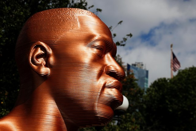 A sculpture of George Floyd is seen during the SEEINJUSTICE art exhibition, in New York, U.S. September 30, 2021. (Photo by Shannon Stapleton/Reuters)