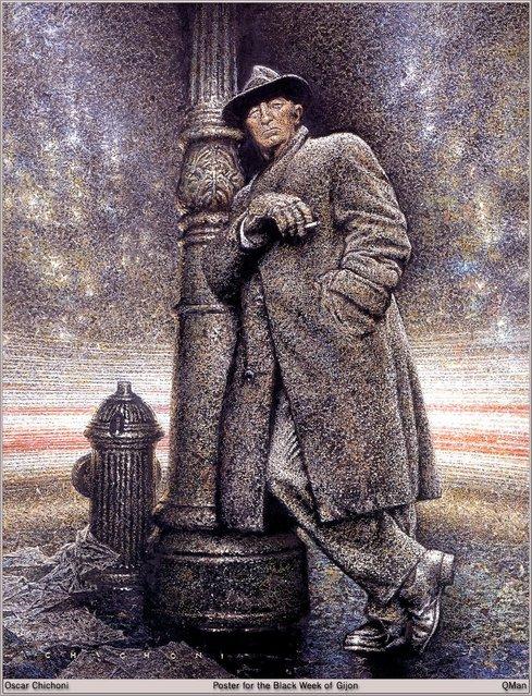 Robert Mitchum (Poster for Semana Negra at Gijon). Artwork by Oscar Chichoni