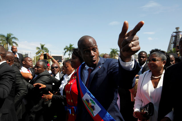 Haitian President Jovenel Moise gestures at his arrival to the National Palace during his inauguration ceremony in Port-au-Prince, Haiti, February 7, 2017. (Photo by Andres Martinez Casares/Reuters)