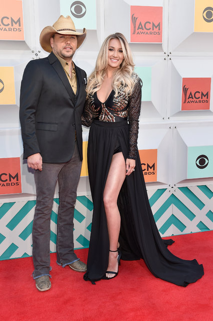 Singer Jason Aldean (L) and Brittany Kerr attend the 51st Academy of Country Music Awards at MGM Grand Garden Arena on April 3, 2016 in Las Vegas, Nevada. (Photo by David Becker/Getty Images)