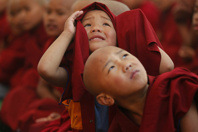 Young monks get distracted by a drone as they watch a traditional dance during Cham dance festival as part of Tibetan New Year celebrations, at the Triten Norbutse Monastery in Kathmandu, Nepal, Wednesday, February 13, 2019. According to Bön Tibetan Buddhism, this mask dance is a purification ceremony that eliminates negative energy and bad luck in the beginning of the new year. (Photo by Niranjan Shrestha/AP Photo)