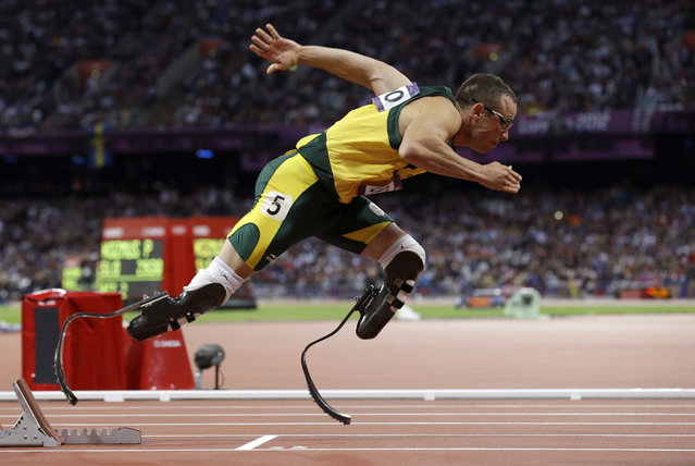 In this August 5, 2012 file photo, South Africa's Oscar Pistorius starts in the men's 400-meter semifinal during the athletics in the Olympic Stadium at the 2012 Summer Olympics in London. (Photo by Anja Niedringhaus/AP Photo)