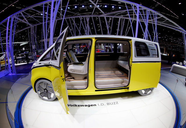 Volkswagen I.D. Buzz concept car is seen during the 87th International Motor Show at Palexpo in Geneva, Switzerland March 8, 2017. (Photo by Arnd Wiegmann/Reuters)
