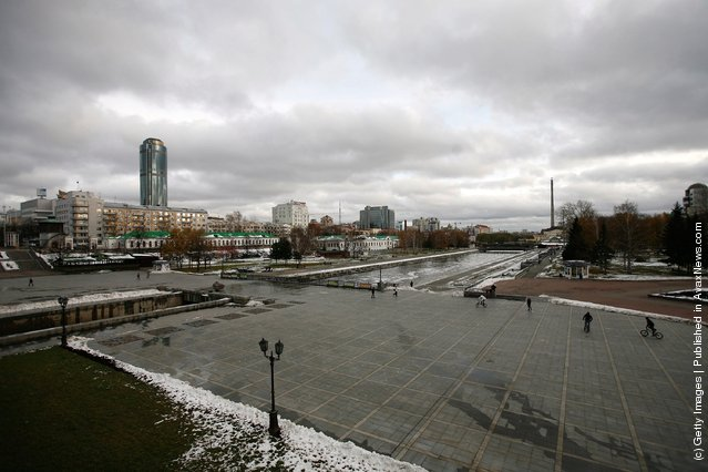A general view of Yekaterinburg's 'Historic Square' with the Vysotsky business centre towering above the skyline