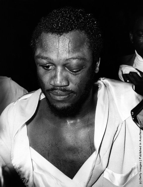 1973: Joe Frazier, the former world heavyweight champion, after a hard-won victory over Joe Bugner in a world title eliminator at Earl's Court