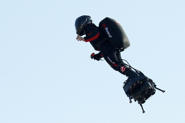 French inventor Franky Zapata takes off on a Flyboard to cross the English channel from Sangatte to Dover, in Sangatte, France, July 25, 2019. (Photo by Pascal Rossignol/Reuters)