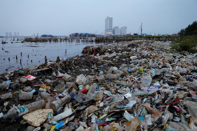 Rubbish, most of which is plastics, is seen along a shoreline in Jakarta, Indonesia, June 21, 2019. (Photo by Willy Kurniawan/Reuters)