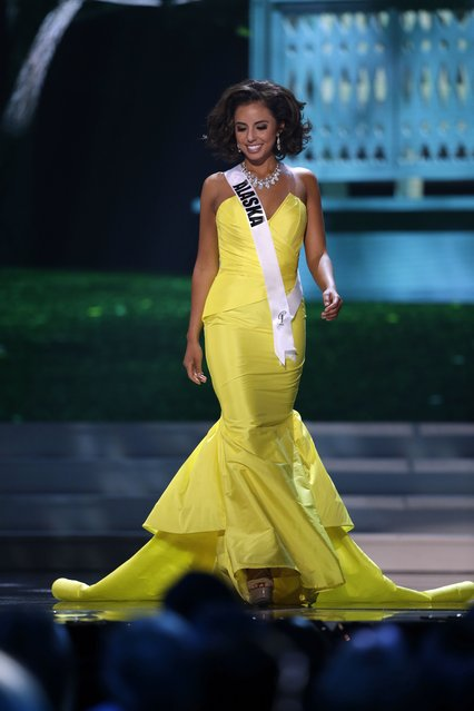 Miss Alaska, Kimberly Agron, competes in the evening gown competition during the preliminary round of the 2015 Miss USA Pageant in Baton Rouge, La., Wednesday, July 8, 2015. (Photo by Gerald Herbert/AP Photo)