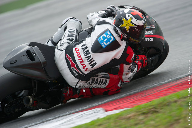 Jorge Lorenzo of Spain and Yamaha Factory Team rounds the bend during the third day of MotoGP testing at Sepang Circuit