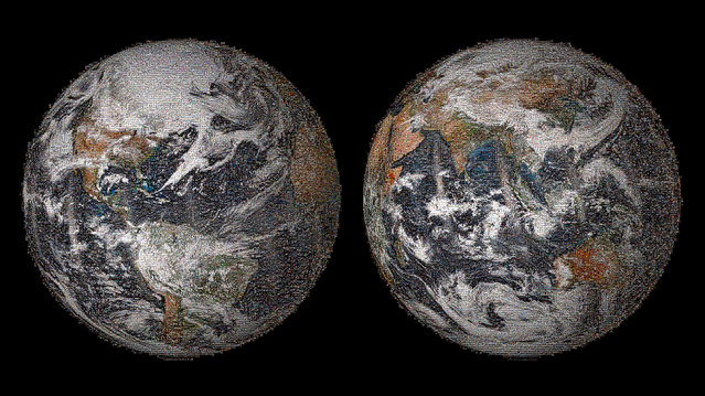 "NASA's ""Global Selfie"" Earth mosaic contains more than 36,000 individual photographs from the more than 50,000 images posted around the world. (Photo by NASA)"