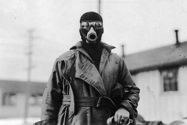 Unidentified pilot wearing a type of breathing apparatus. Image taken by O.I.C Photographic Detachment, Hazelhurst Field, Long Island, New York. (Photo by National World War I Museum, Kansas City, Missouri, USA via The Atlantic)