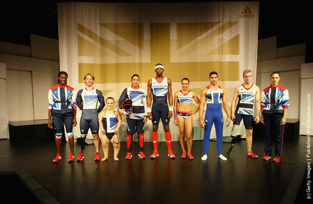 Athlete Christine Ohuruogu, Paralympian cyclist Jody Cundy, Paralympian swimmer Ellie Simmonds, BMX cyclist Shanaze Reade, Triple jumper Phillips Idowu, Heptathlon athlete Jessica Ennis, Gymnast Louis Smith, Paralympian sprinter Jonnie Peacock and Pentathlete Heather Fell on stage at the official British team kit launch for the London 2012 Olympic and Paralympic Games, designed by Stella McCartney, created by adidas and was unveiled at the Tower of London