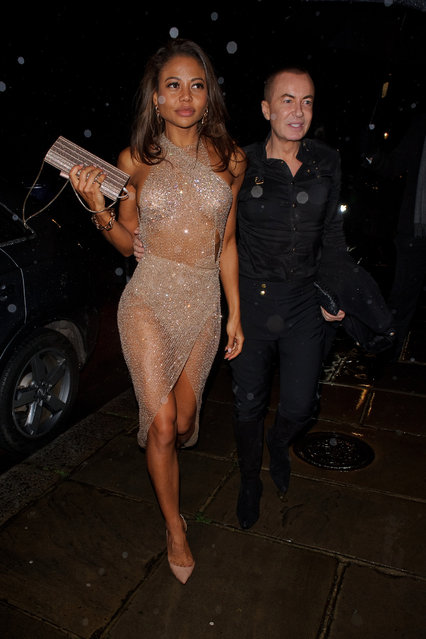Julien Macdonald (R) and Emma Thynn, Viscountess Weymouth seen attending Evgeny Lebedev's Christmas Party on December 13, 2019 in London, England. (Photo by GORC/GC Images)