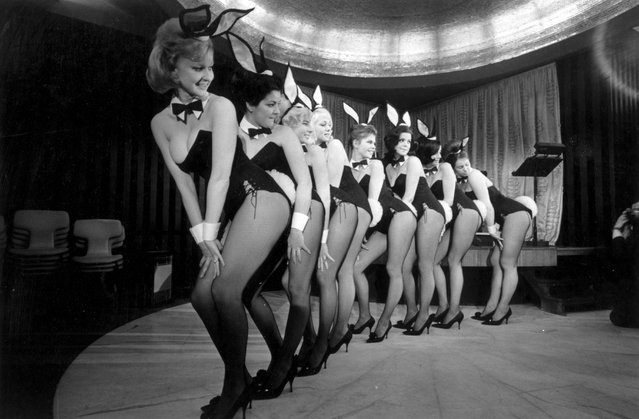 A troupe of Bunny girl dancers including Maureen Hayden and Marianne Hunt during a performance at London's Playboy Club, 1963. (Photo by Victor Blackman/Getty Images)