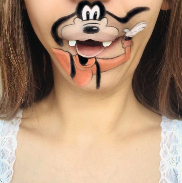 Makeup artist Laura Jenkinson paints popular cartoon characters on her face, using her own mouth as the teeth and lips of her subjects. Here, Disney's Goofy is depicted on Jenkinson. (Photo by Laura Jenkinson/Caters News)