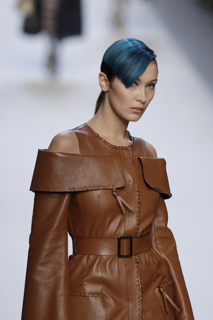 Model Bella Hadid wears a creation as part of the Fendi womens Fall/Winter 2018/19 fashion collection, presented in Milan, Italy, Thursday, September 21, 2017. (Photo by Luca Bruno/AP Photo)