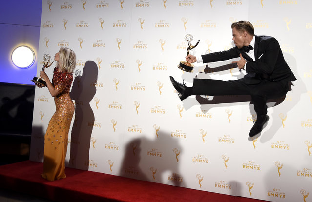 "Derek Hough, right, and Julianne Hough, co-winners of the award fo rOutstanding Choreography for ""Dancing with the Stars"", pose in the press room at the Creative Arts Emmy Awards at the Microsoft Theater on Saturday, September 12, 2015, in Los Angeles. (Photo by Chris Pizzello/Invision/AP Photo)"