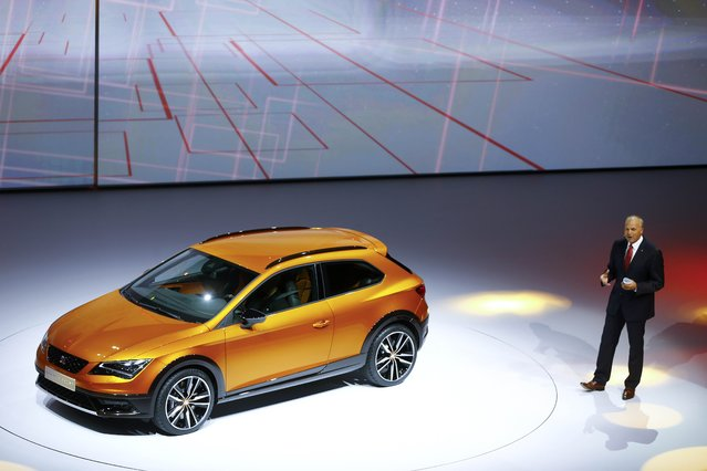 SEAT Leon Cross Sport is presented by SEAT CEO Juergen Stackmann during the Volkswagen group night ahead of the Frankfurt Motor Show (IAA) in Frankfurt, Germany, September 14, 2015. (Photo by Kai Pfaffenbach/Reuters)