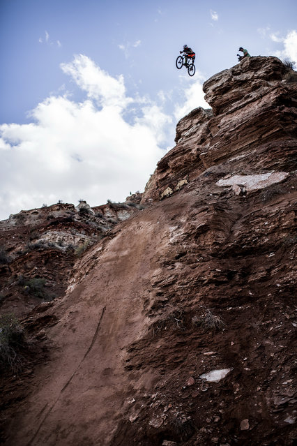 In this handout image provided by Red Bull, Cameron Zink of the USA in action during practice for Red Bull Rampage freeride event on September 28, 2014 in Virgin, Utah. (Photo by Dean Treml/Red Bull via Getty Images)
