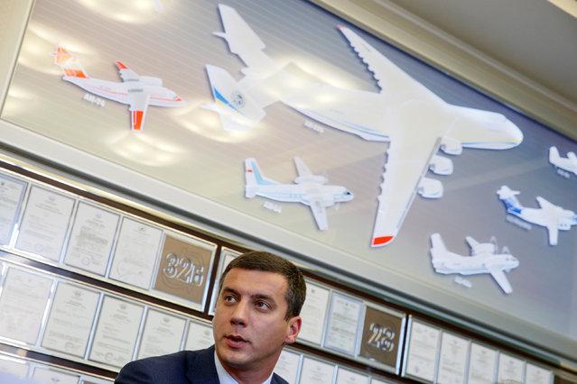 Oleksandr Kotsiuba, president of Antonov state aircraft company, speaks during a news conference in Kiev, Ukraine, September 7, 2016. (Photo by Valentyn Ogirenko/Reuters)