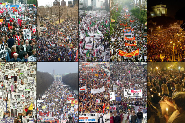 Protests against war in Iraq erupted around the world in March of 2003. This combination photo shows (from top left) large demonstrations in Madrid, New York, Jakarta, Calcutta, Rome, (2nd row) London, Berlin, Marseille, San Francisco, and Montevideo. (Photo by , in same order: Reuters, AP Photo/Louis Lanzano, Reuters/Pipit Prahara, Reuters/Sucheta Das, Reuters/Giampiero Sposito, Reuters/Peter Macdiarmid, AP Photo/Franka Bruns, AP Photo/Claude Paris, AP Photo/Noah Berger, and AP Photo/Marcelo Hernandez/The Atlantic)