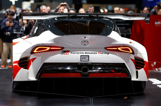 The racecar of Toyota Gazoo Racing is presented during the press day at the 88th Geneva International Motor Show in Geneva, Switzerland on Tuesday, March 6, 2018. (Photo by Pierre Albouy/Reuters)