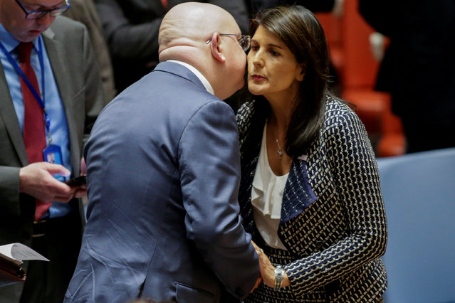 United States Ambassador to the United Nations Nikki Haley greets Russian Ambassador to the United Nations Vasily Nebenzya before the United Nations Security Council meeting on Syria at the U.N. headquarters in New York, U.S., April 13, 2018. (Photo by Eduardo Munoz/Reuters)