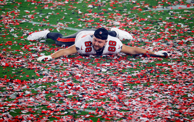 Tampa Bay Buccaneers' Tanner Hudson celebrates after winning the Super Bowl LV at Raymond James Stadium in Tampa, Florida, U.S. on February 7, 2021. (Photo by Brian Snyder/Reuters)