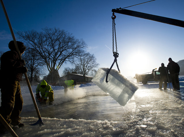 City of Winona, Minn., employees cut and remove blocks of ice from East Lake Winona on Thursday, Feb. 5, 2015, in preparation for the Goose Bump Jump and Cardinal Plunge this Saturday. In their 10th year opening a 25-foot by 35-foot hole in the ice, the city crew has the process down to a science. Ice blocks were cut with chainsaws and pulled up with a pick on a tractor. (Photo by Andrew Link/AP Photo/Winona Daily News)