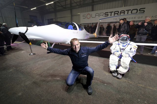 Pilot Raphael Domjan of Solarstratos, a solar-powered two-seater aircraft with a mission to fly some 24,000m (78,000 feet) above earth set to take place in 2018 poses during the roll out presentation in Payerne, Switzerland December 7, 2016. (Photo by Denis Balibouse/Reuters)